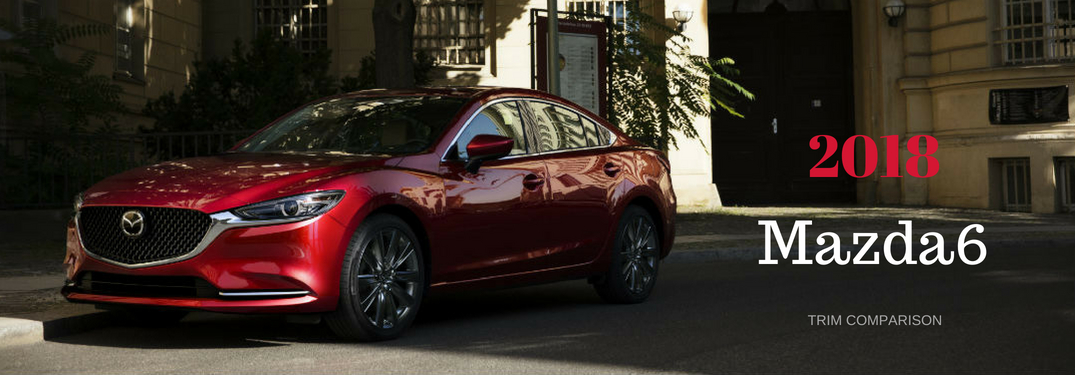 2018 Mazda6 Trim Comparison, text on an driver side exterior image of a red 2018 Mazda6