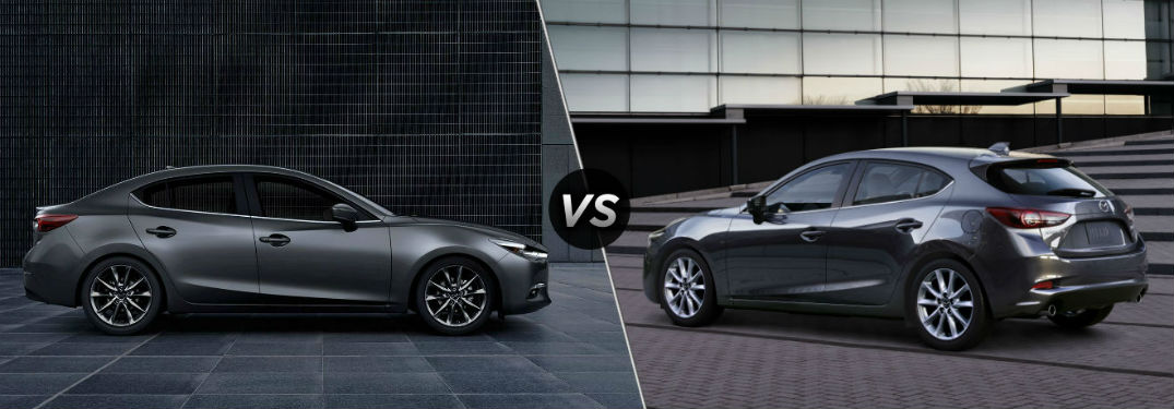 "Passenger side exterior view of a gray 2018 Mazda3 4-door on the left ""vs"" driver side exterior view of a gray 2018 Mazda3 5-door on the right"