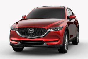 Front exterior view of a red 2019 Mazda CX-5