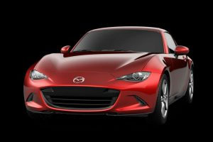 Front exterior view of a red 2019 Mazda MX-5 Miata