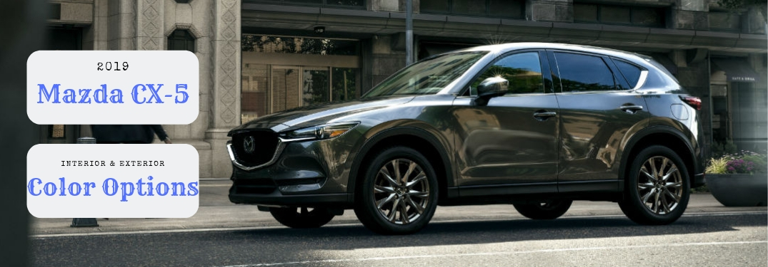2019 Mazda CX-5 Interior & Exterior Color Options, text on a driver side exterior image of gray 2019 Mazda CX-5