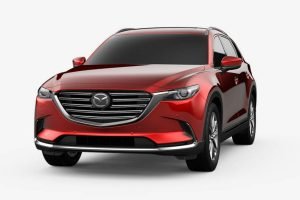 Front exterior view of a red 2019 Mazda CX-9