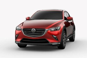 Front exterior view of a red 2019 Mazda CX-3