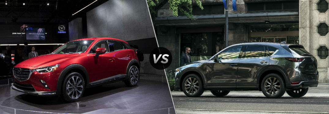 "Front driver side exterior view of a red 2019 Mazda CX-3 on the left ""vs"" driver side exterior view of a gray 2019 Mazda CX-5 on the right"