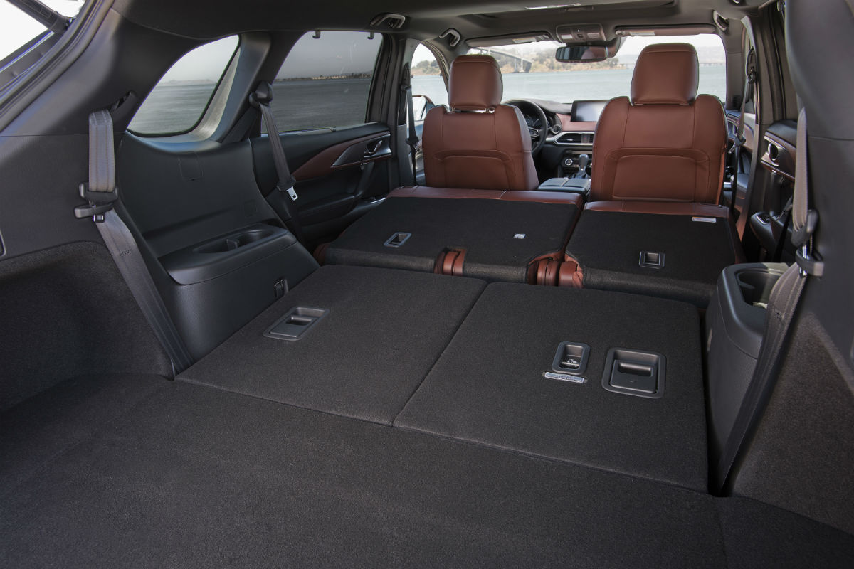 Rear seats of the 2019 Mazda CX-9 folded flat for cargo convenience