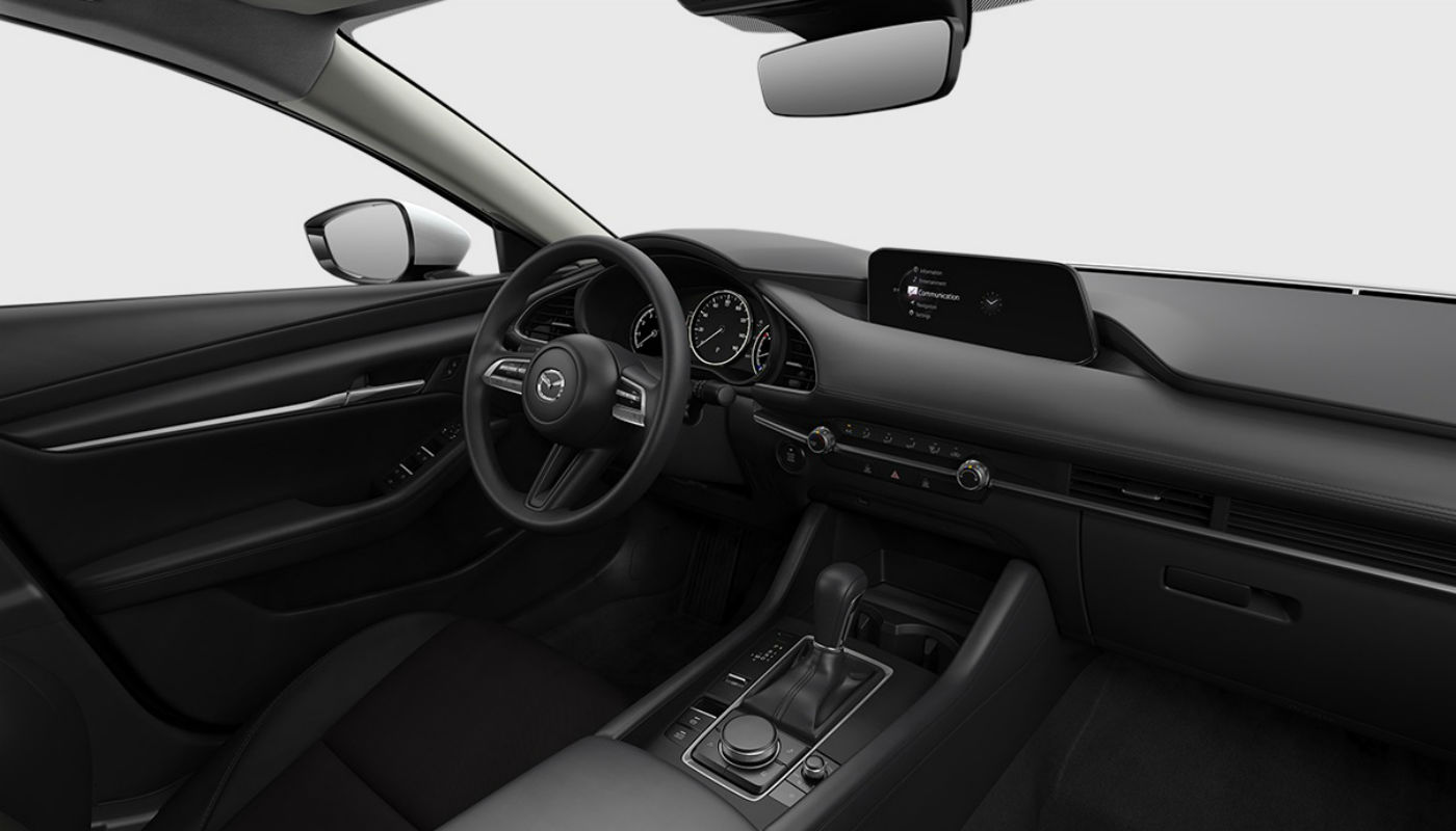 Black Cloth upholstery of the 2019 Mazda3
