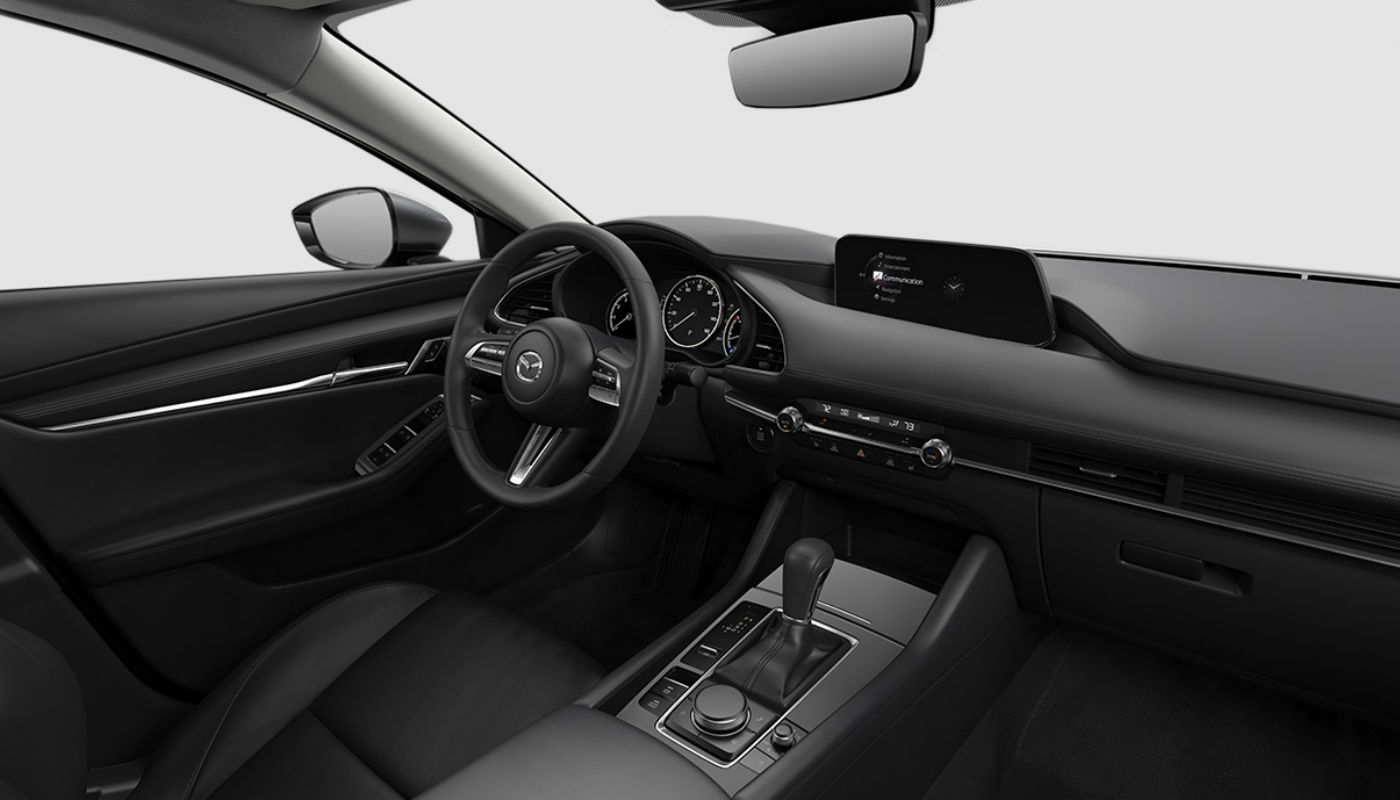 Black Leather upholstery of the 2019 Mazda3