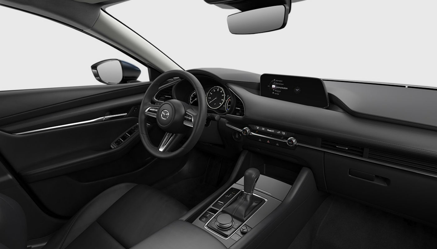 Black Leatherette upholstery of the 2019 Mazda3
