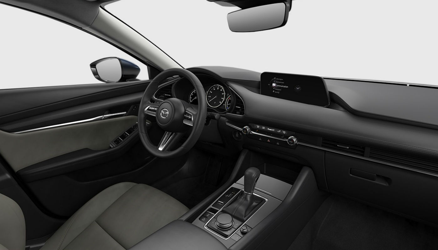 Greige Leatherette upholstery of the 2019 Mazda3