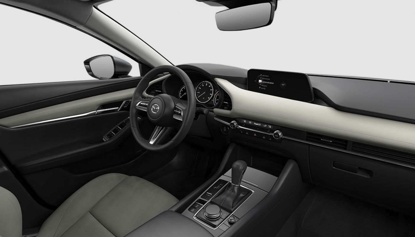 White Leather upholstery of the 2019 Mazda3