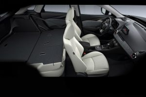 Overhead view of the rear seat folded flat for storage in the 2019 Mazda CX-3