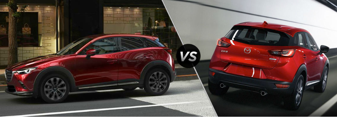 "Driver side exterior view of a red 2019 Mazda CX-3 on the left ""vs"" rear exterior view of a red 2018 Mazda CX-3 on the right"