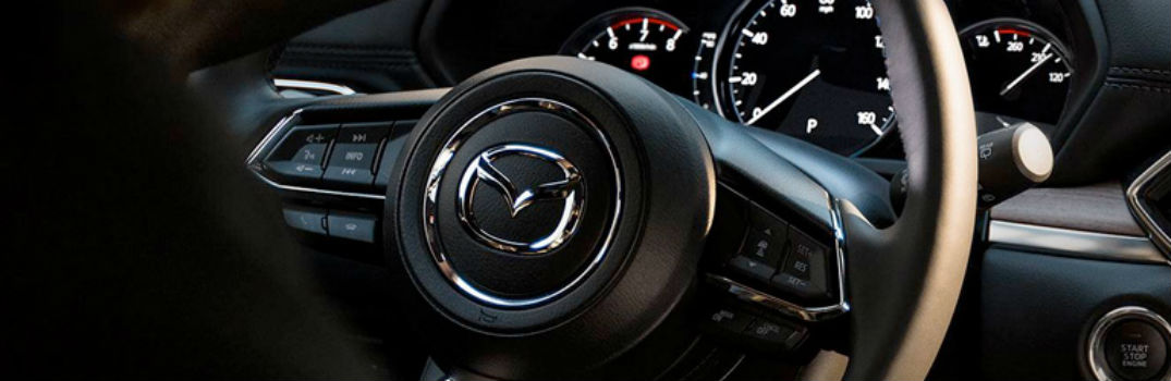 close-up view of the steering wheel in the 2019 Mazda CX-5