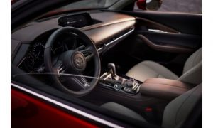 2020 Mazda CX-30 front interior as seen through the driver's window