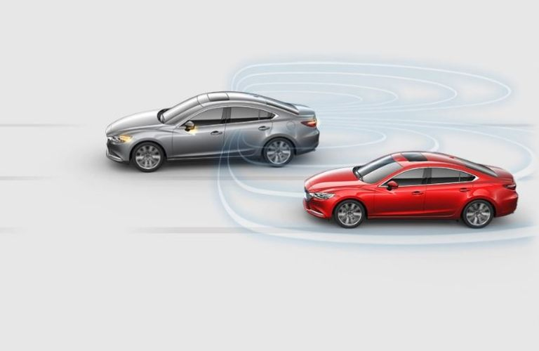 Visual representation of the Blind Spot Monitoring driver assistance feature