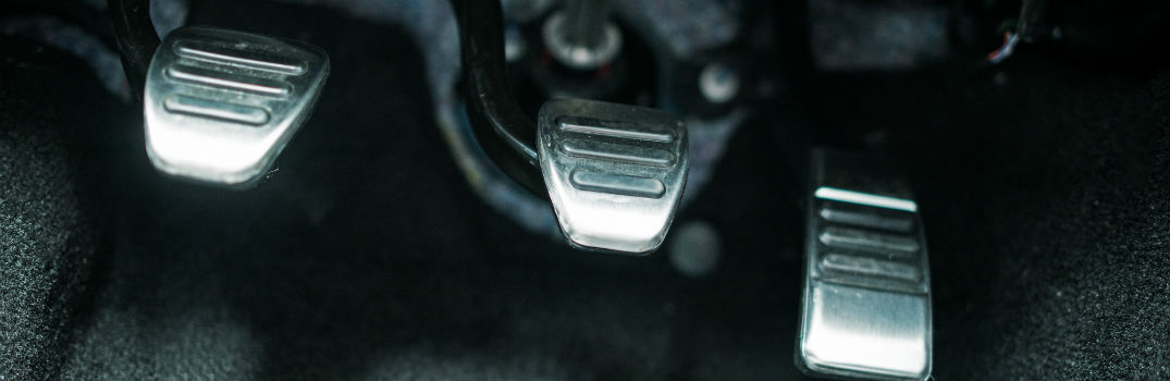gas, brake, and clutch pedals in a vehicle