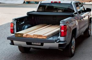 2017 Chevy Silverado with lumber in the bed