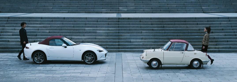 two Mazda MX-5 Miata models
