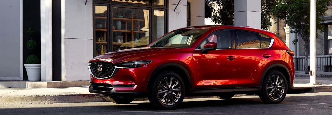 side view of a red 2021 Mazda CX-5
