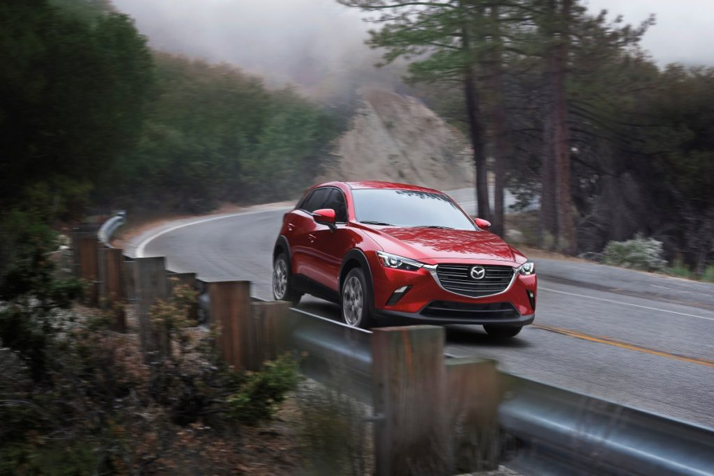 front view of a red 2021 Mazda CX-3