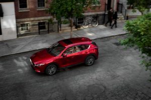 aerial view of a red 2021 Mazda CX-5