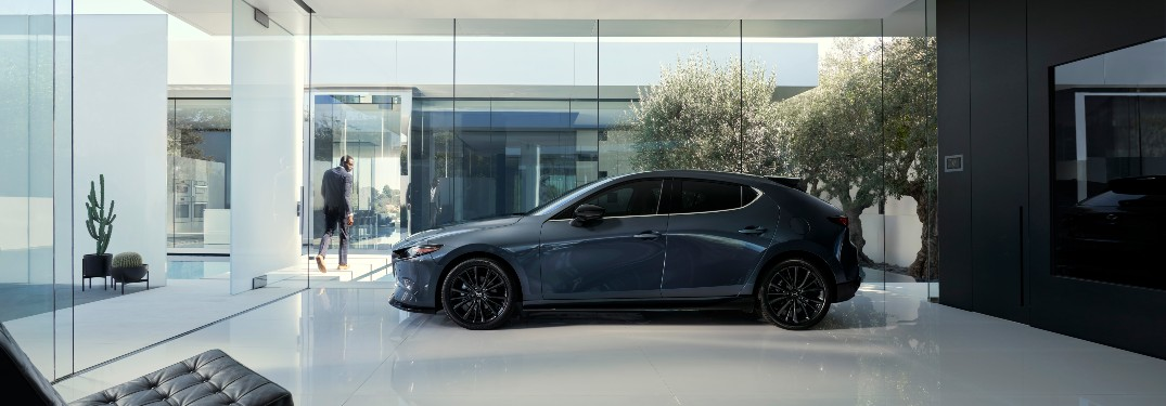 side view of a silver 2021 Mazda3