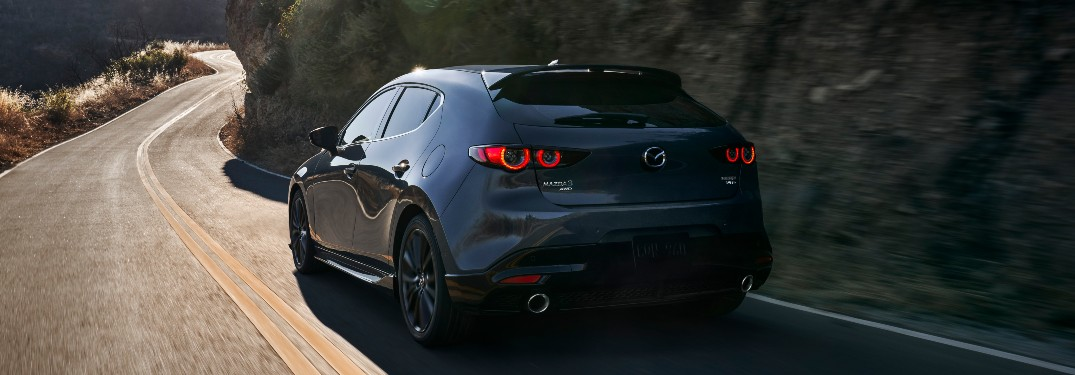 rear view of a gray 2021 Mazda3 hatchback