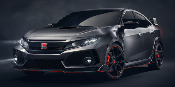 Exterior View of the Front of the 2017 Honda Civic Type R Protoype