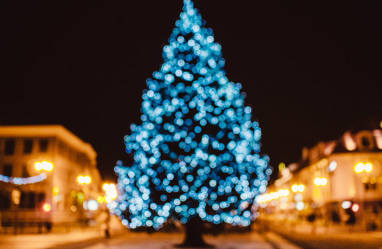 blurry christmas tree with blue lights - Christmas Tree With Blue Lights
