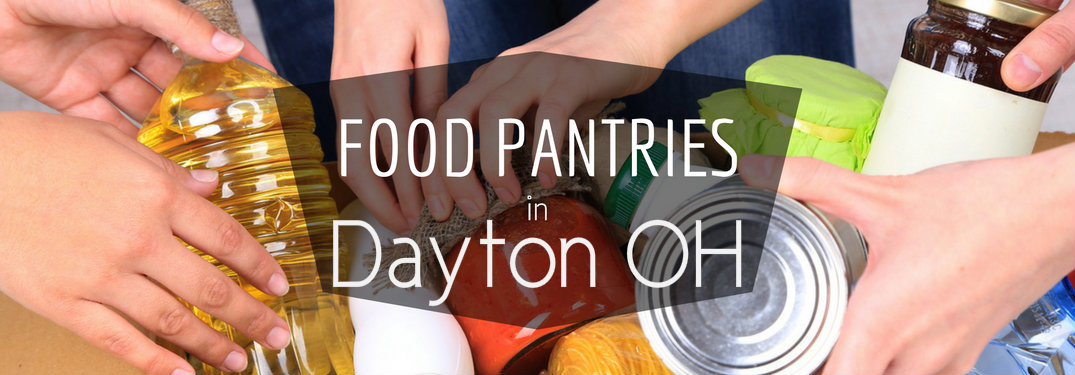 People-putting-food-in-box-with-text-overlay-saying-food-pantries-in-Dayton-OH