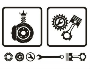 Brake and tool icons on white background
