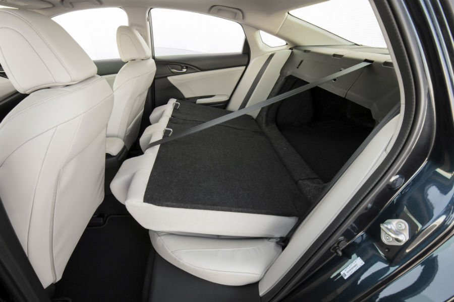 2019 Honda Insight interior folded down rear seats back cabin