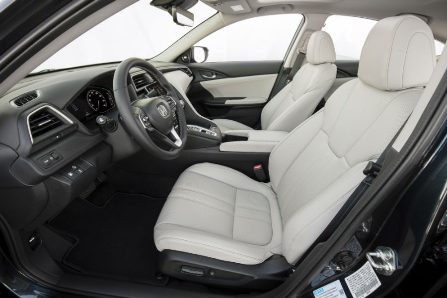2019 Honda Insight interior front cabin side view of seats steering wheel and dashboard