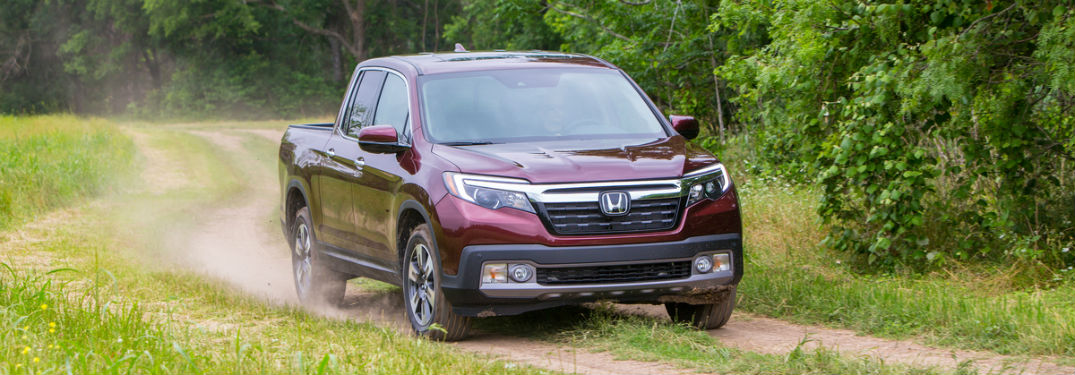 2019 Honda Ridgeline exterior front fascia passenger side on dirt road