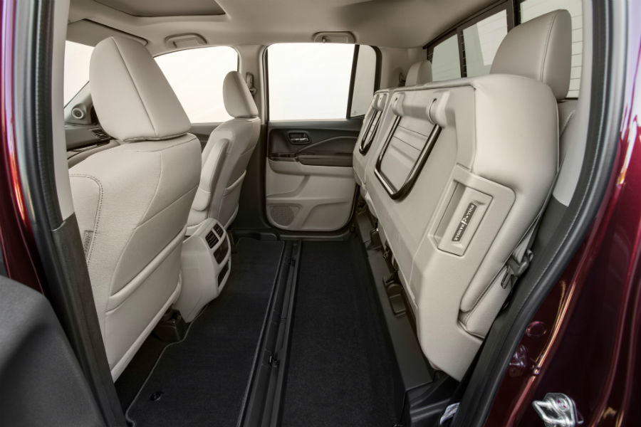 2019 Honda Ridgeline interior back cabin seats folded up