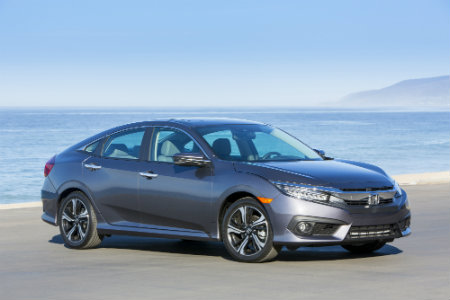 2018 Honda Civic Sedan parked by the shore