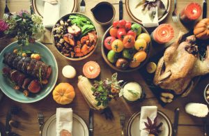 view from above table with thanksgiving feast