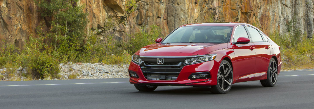 front view of red honda accord