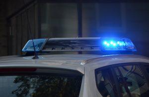 blue cop car lights