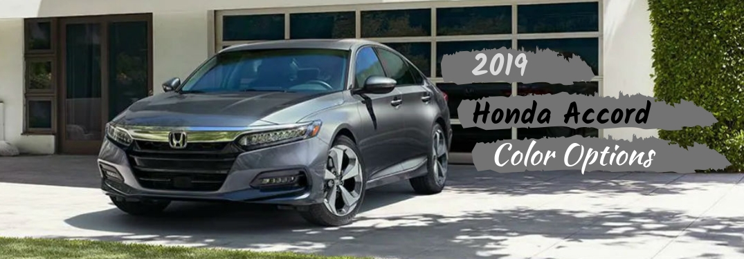2019 Honda Accord Color Options, text next to a front driver side exterior image of a gray 2019 Honda Accord