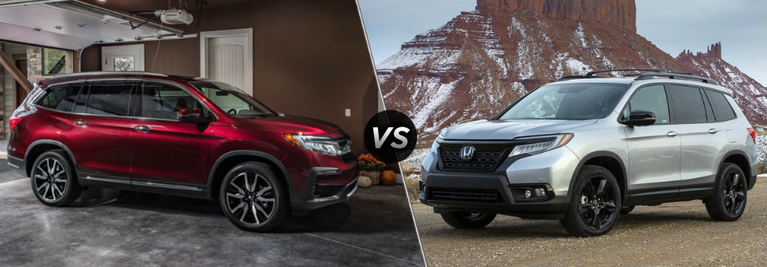 "Passenger side exterior view of a red 2019 Honda Pilot on the left ""vs"" driver side exterior view of a gray 2019 Honda Passport on the right"