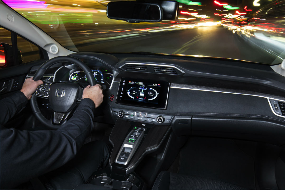 Driver's cockpit of the 2019 Honda Clarity Plug-In Hybrid