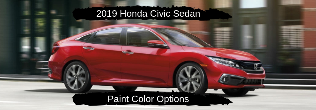 2019 Honda Civic Sedan Color Options, text on a passenger side image of a red 2019 Honda Civic Sedan