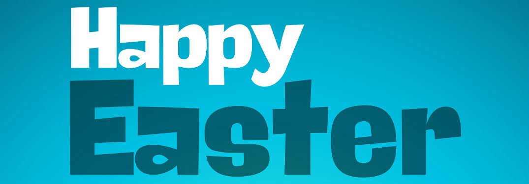 Happy Easter, text against a light blue background