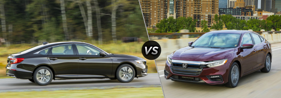 "Passenger side exterior view of a black 2019 Honda Accord Hybrid ""vs"" front driver side exterior view of a red 2019 Honda Insight"