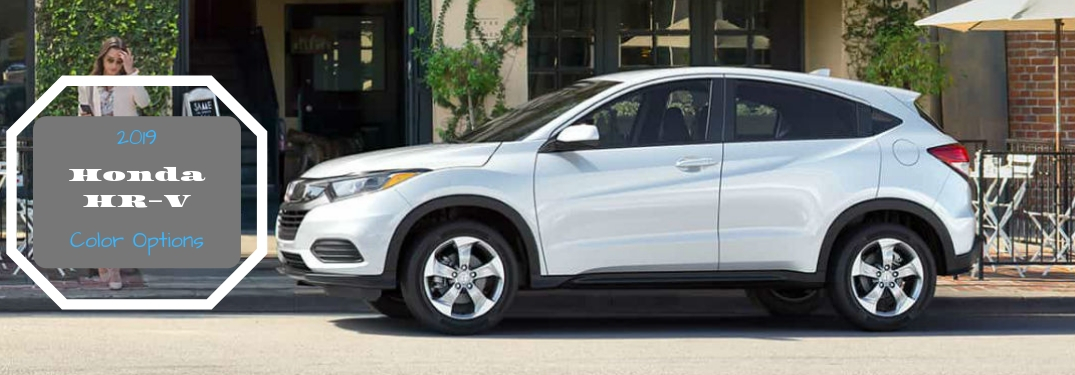 2019 Honda HR-V Color Options, text next to a driver side exterior image of a gray 2019 Honda HR-V