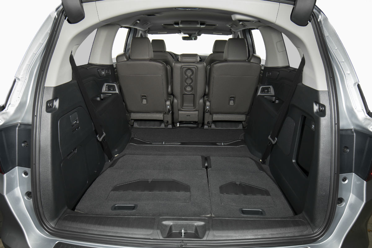Rear seats folded flat in the 2019 Honda Odyssey for maximum storage space