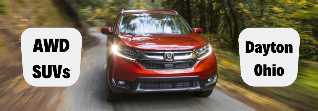 AWD SUVS Dayton, Ohio, text next to a front exterior image of a red 2019 Honda CR-V