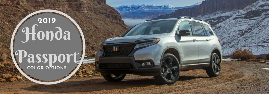 2019 Honda Passport Color Options, text next to a front driver side exterior image of a gray 2019 Honda Passport
