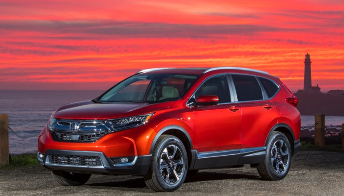 2019 Honda CR-V parked on the shore at sunset